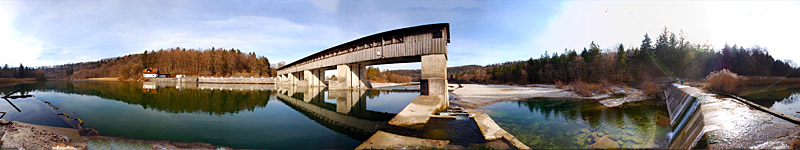 Stauwehr, Isar, Germany - panorama - click to open it in a new window